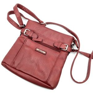Roots burgundy red leather crossbody bag